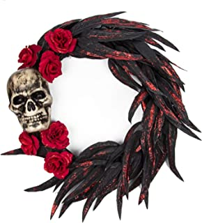 KI Store Halloween Wreath for Door 16-Inch Halloween Decorations for Haunted House Party Trick or Treat