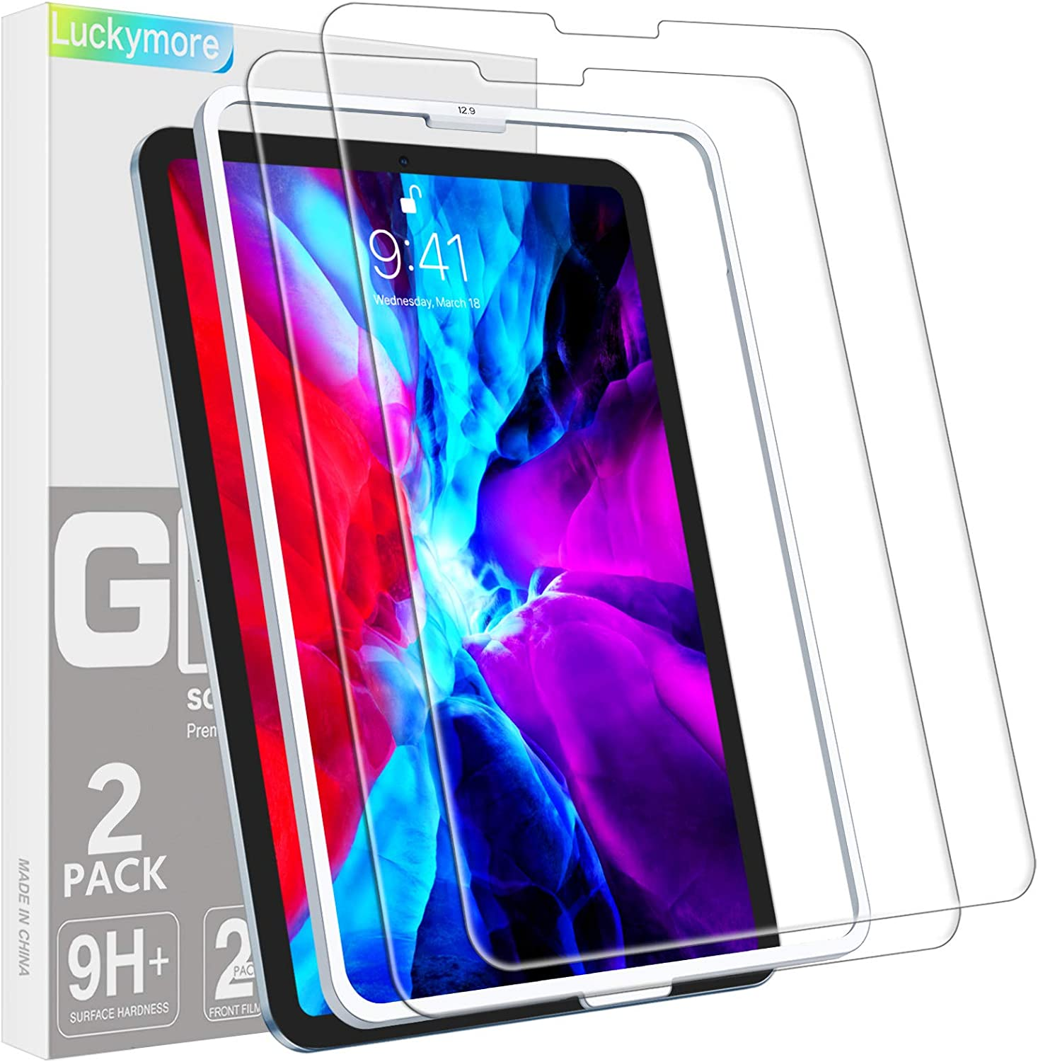 Luckymore 2 Pack Screen Protector for Ranking Year-end gift TOP20 2021 a inch pro 12.9 iPad