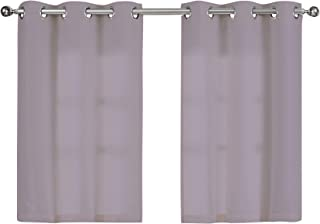 SureFit Home Décor Hookless Waffle Window Set (Includes 2 Panels) Easy Install, Split Chrome Rings, Polyester, Machine Was...