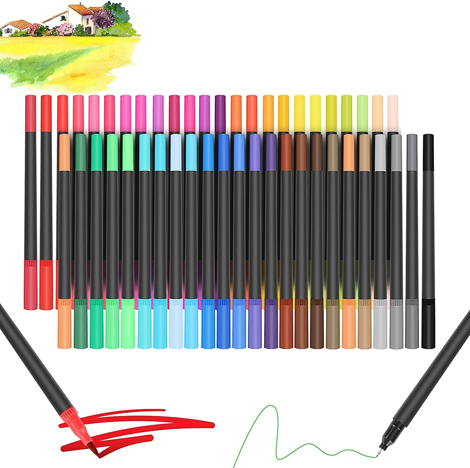 Watercolour Brush Pens Set HaetFire Cal Tip NEW before selling sold out 48 Colors Dual