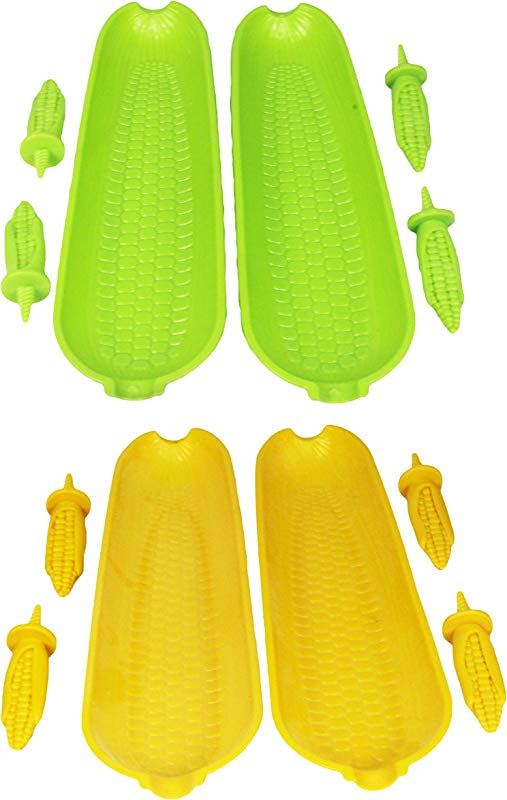 12 Piece Corn On The Cob Skewer And Dish Set Large Plastic Corn On The Cob Dishes And Corn Holders 2 Assorted Corn Serving Sets