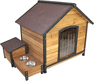 PETJOINT XL Extra Large Dog Kennel + Storage Box + Food Bowls | Wooden Pet Puppy House Timber Home Indoor Outdoor