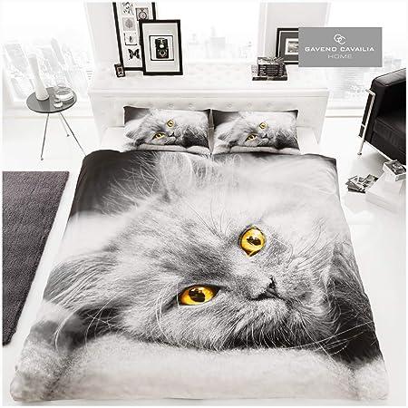 Gaveno Cavailia Parure de lit avec Housse de Couette et taie d'oreiller Motif Chat 3D Coton Polyester, Multicolore, Double