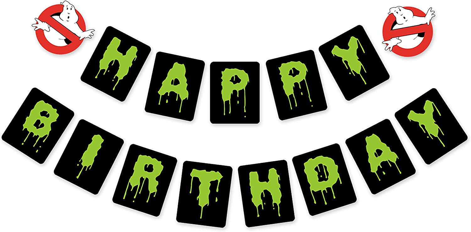 Ghost Buster Birthday Banner Ghostbusters Award-winning store Inspired Slimer Max 59% OFF Green