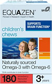 Equazen Childrens Chews | Omega 3 and Omega 6 Supplement | 180 Strawberry Flavoured Chews | Clinically Researched Blend of...