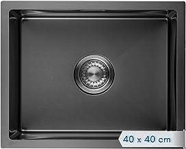 LOMAZOO Gootsteen zwart | spoelbak roestvrij staal | zwarte keukenspoelbak inbouwspoelbak | wastafel keuken | 40 x 40 cm