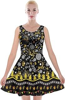 PattyCandy Womens Vintage Christmas Thanksgiving & Unicorns Theme Drapey Flared Soft Velvet Skater Dress,XS-5XL