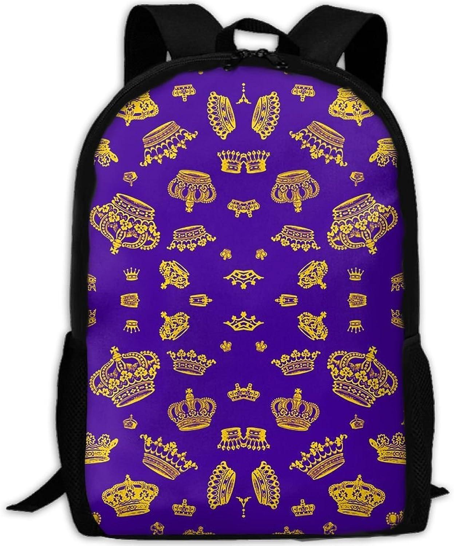 Royal Crowns - Gold On lila 3D 3D 3D Print Backpack College School Laptop Bag Daypack Travel Shoulder Bag for Unisex B07Q293WJW  Erste Gruppe von Kunden 1b4da1