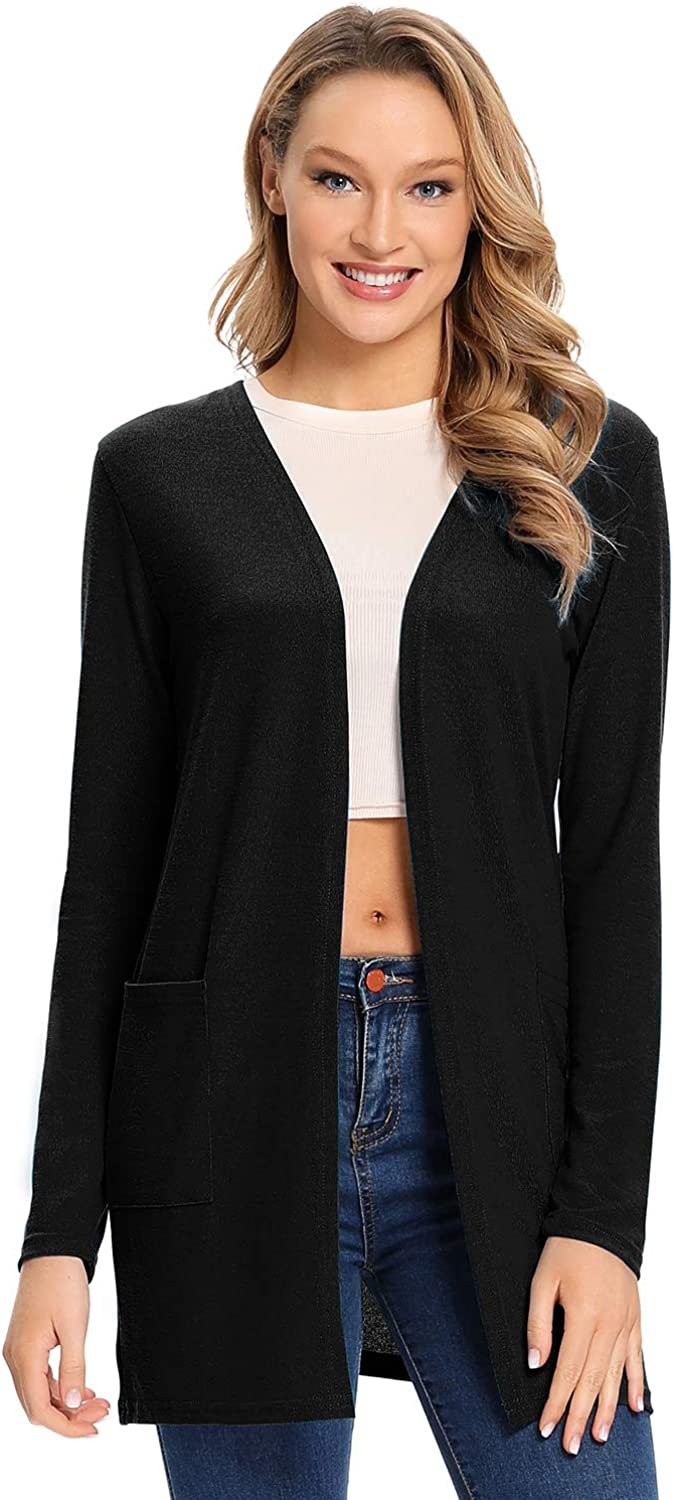 Women's Drape Open Front Casual Cardigans with Pocket Long Sleeves Lightweight Kimono