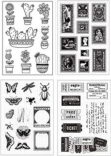 Layhome 4PC Clear Stamp Sets Vintage Transparent Stamp Scrapbooking DIY Arts Craft (Postage&Ticket)
