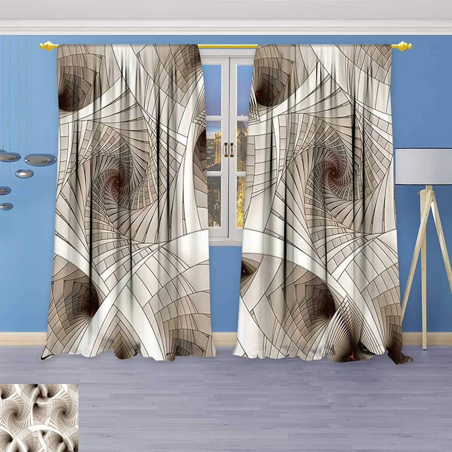 Philiphome Linen Curtains Digital Futuristic Curved Spirals Sci Fi Stylized Dynamic Motion Illustration Beige Print Window Curtain Drapes Set for Living Room