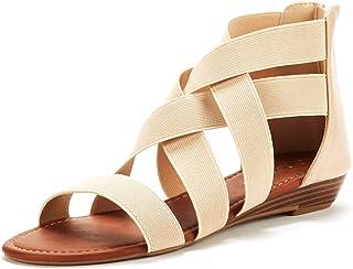 589898f18ef4 DREAM PAIRS Women s Elastica8 Summer Fashion Design Ankle Flat Sandals