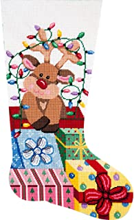 Alice Peterson Home Creations Holiday Edition Needlepoint Stocking Kit-- Gift Wrapped Reindeer - Large, Deluxe Size