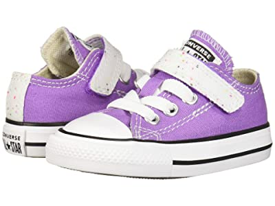 Converse Kids Chuck Taylor All-Star 1V Galaxy Dust Ox (Infant/Toddler) (Bright Violet/Natural Ivory/White) Girls Shoes