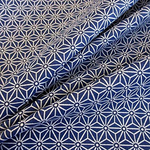 Tessuto in cotone al metro, blu, indaco, bianco, grafica Asanoha giapponese