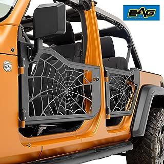 EAG Spyder Web Tubular Door with Side View Mirror Fit for 2018 2019 Jeep Wrangler JL 4 Door Only