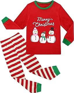 BIBNice Girls Boys Christmas Cotton Pajama Sets Toddler Kids Long Sleeve Sleepwear PJS(Size 2-13Years)