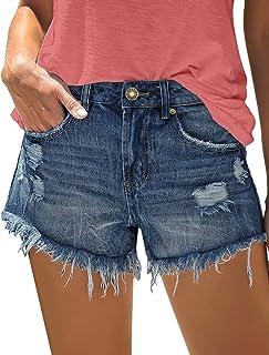 ACKKIA Women's Hot Shorts Mid Rise Frayed Raw Hem Denim Jean Shorts