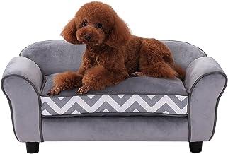 PawHut Pet Sofa Couch Dog Cat Wooden Sponge Sofa Bed Lounge Comfortable Luxury w/Cushion, Grey
