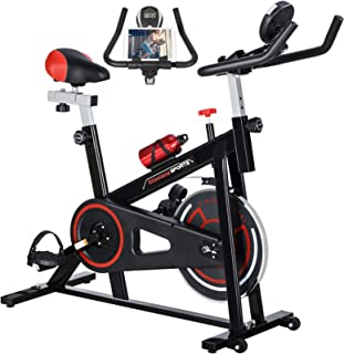 Exercise Bike Indoor Cycling Bike Stationary 26lb Flywheel Bicycle with 4-way Seat, Ipad Mount, Aluminum alloy & Padded Se...