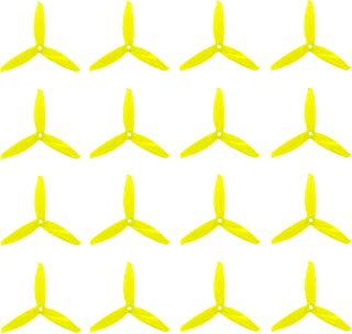 Genuine Gemfan 5152 3-Blades FLASH (5.1x5.2x3) Propellers by RAYCorp. 16 Pieces(8CW, 8CCW) Yellow - Polycarbonate 5.1-inch Tri Blades Quadcopters & Multirotors Props + RAYCorp Battery Strap