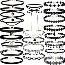 Fashion Necklace, Hoshell 22 Pieces Choker Necklace Set Stretch Velvet Classic Gothic Tattoo Lace Choker