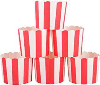 Webake Full Size Paper Baking Cups Red Cupcake Liners for Popcorn Cupcake, Cupcake Bath Bomb, Muffin Case, Great for Christmas Cupcake Baking Decoration Set of 25 (Red Stripe)
