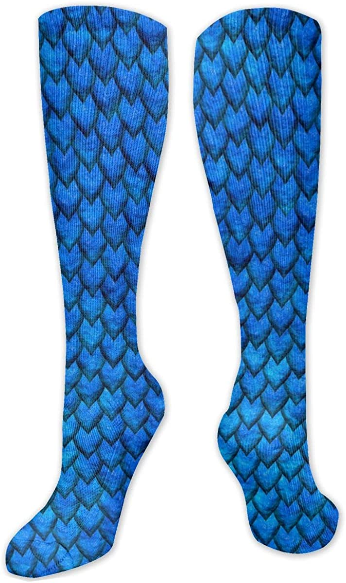 Blue Dragon Skin Knee High Socks Leg Warmer Dresses Long Boot Stockings For Womens Cosplay Daily Wear