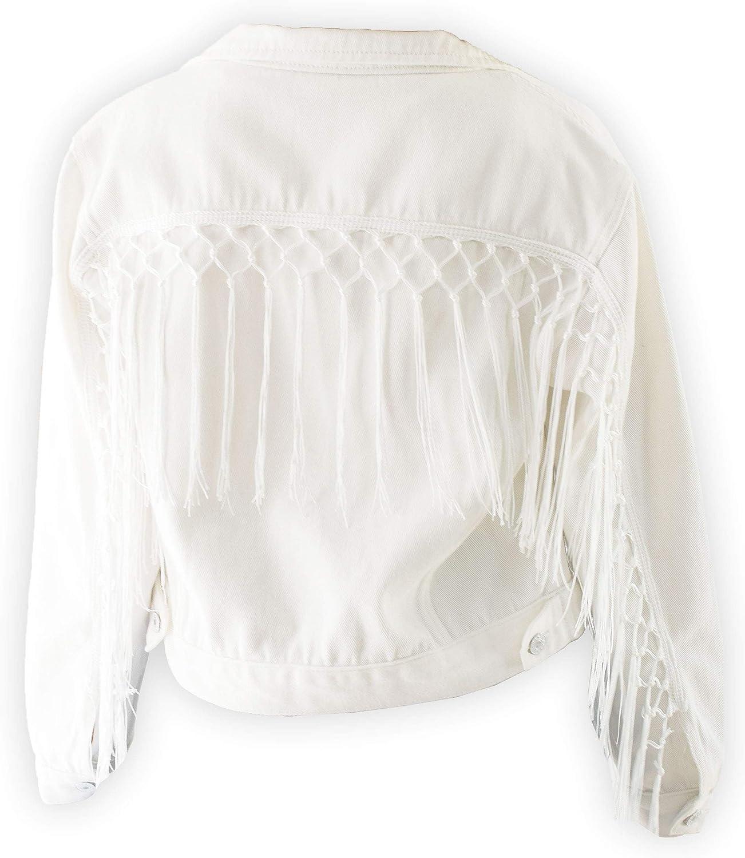 Women's Fringe Jacket White Crop Denim Jean Jacket With Tassel Trim