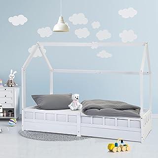 ECD Germany Lit d`Enfants 90x200 cm Cadre de Lit Bois Pin Massif Blanc + Grille de Protection Lattes Toit Lit Structure Ca...