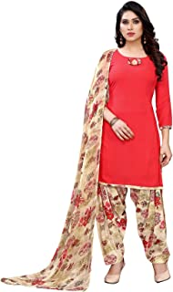 TreegoArt Fashion Women's Printed Ethnic Wear Crepe Woven Dress Material -(Free Size) Red