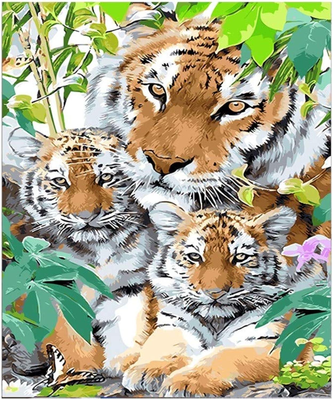 Yyboo DIY Malen Nach Zahlen Digitale Leinwand Ölgemälde Geschenk Erwachsene Kinder Kits Home Decorators - DREI Tiger (Holzrahmen) B07PDD4H6Z | Genial