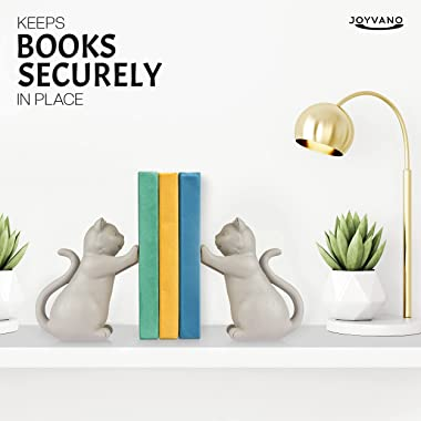 Joyvano Cat Bookends for Shelves – Decorative Cat Book Ends w/ Non-Slip Base to Hold Books - Book Holders for Home, Office, K