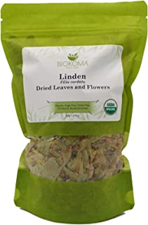 100% Pure and Organic Biokoma Linden Dried Leaves and Flowers Herbal Tea in Resealable Pack Moisture Proof Pouch - 50g