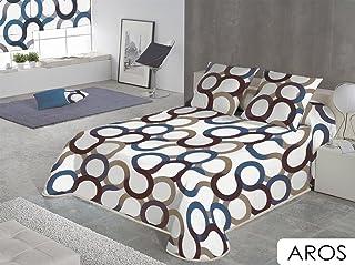 SABANALIA - Colcha Aros (Disponible en Varios tamaños y Colores), Cama 90-180 x 280, Azul