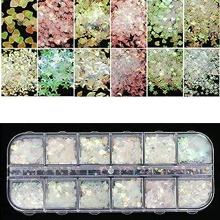 12 Grids/Sets Nail Art Glitter Flakes AB Chameleon Color Sequins UV Gel Polish Semi-transparent Star Heart Flower Paillette Decor Tools for Nail Make Up