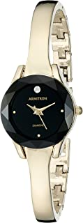 Armitron Women's 75/5327BKGP Diamond-Accented Dial Gold-Tone Bangle Watch