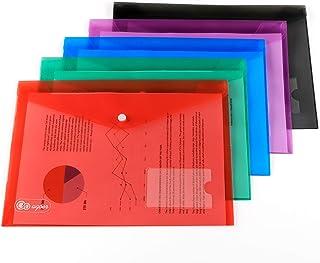 AGOER 20pcs Pochette Document A4 Transparent, 5 Couleurs Pochette Porte Document Plastique A4 à Bouton Pression avec Porte...