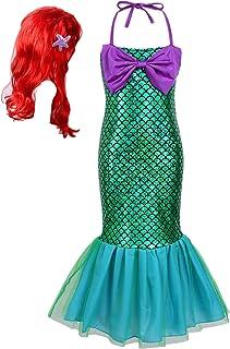 Aislor Deguisement Princesse Enfants Filles Petite Sirène Costume Princesse Habiller Fantaisie Perruque Tutu Queue de Sirè...