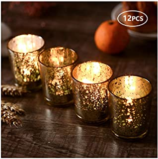 SUPREME LIGHTS ·2017· Mercury Votive Candle Holders, Speckled Glass Tealight Holder, 2.45-inch Tall(Set of 12, Gold)
