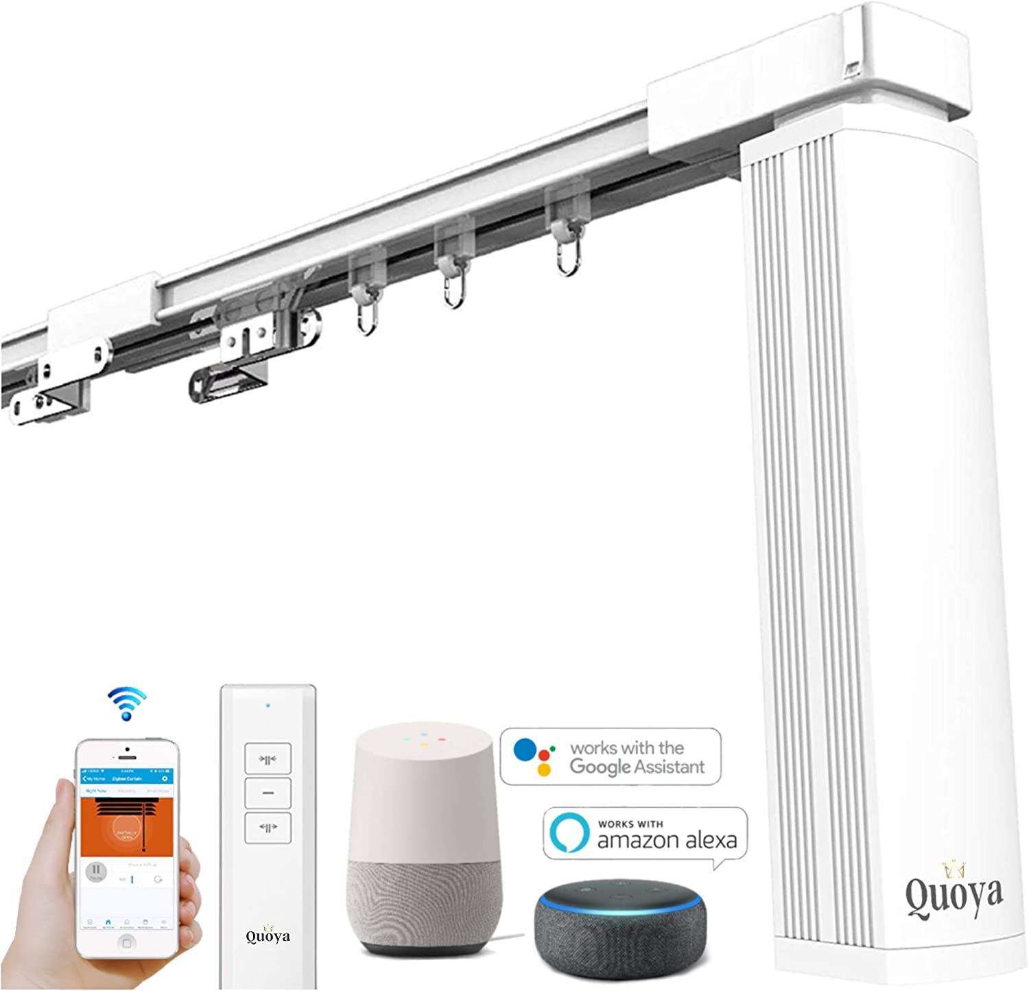 Quoya Curtains System, Electric Curtain track with Automated Rail Motor with App, Voice, Remote Control 【up to 3.2M- Motorised and adjustable tracks】 Up to 3 metres QL-5000