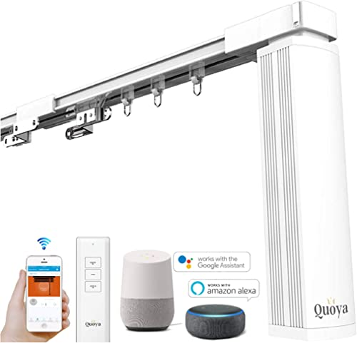 Quoya QL5000- Smart WIFI Automated Electric Curtain Tracks & Rail motor with App, Voice, and Remote Control 【Pre-asse...