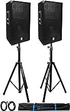 (2) Rockville RSG12 12 3Way 1000 Watt 8Ohm Passive DJ PA Speaker +Stands +Cables