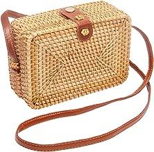 Wicker Round Square Crossbody Rattan Bag, Women Boho Bag Clutch Woven Handbag