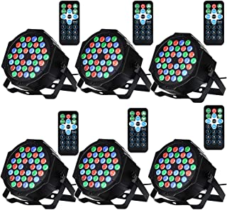 LUNSY DJ Par Lights, 36LED Stage Lighting Par Can Controlled by Remoter and DMX Control - 6 Pack
