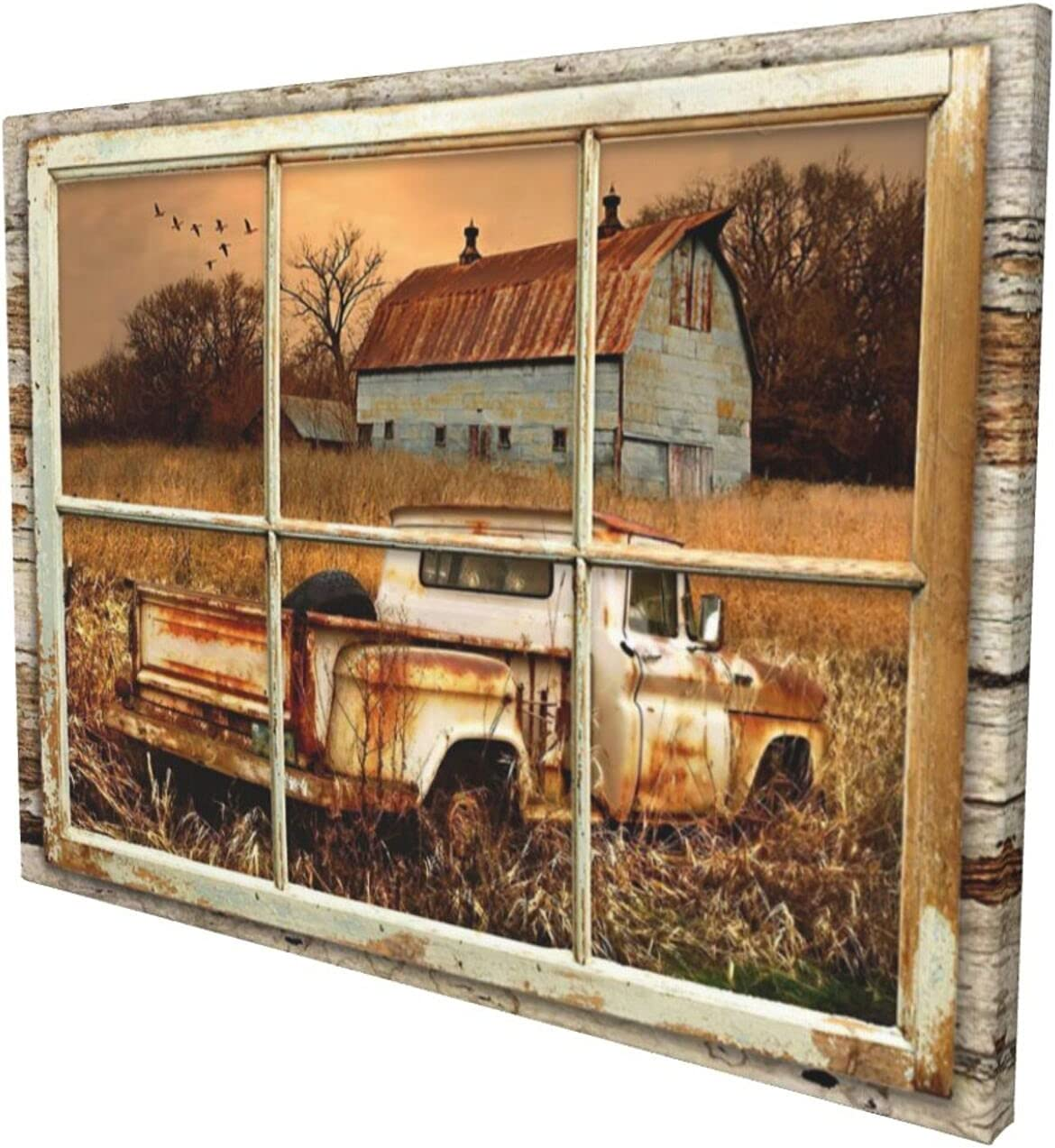 Drawpro Rustic Old Barn Wall Art Beautiful Barn And Rustic Truck At Sunset Through Wooden Window Frame Wall Art For Farmhouse Decor Modern House Wall Art Canvas Art 12x16 Inch