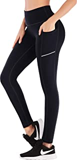 High Waist Yoga Pants with Pockets, Tummy Control Running Pants for Women, 4 Way Stretch Workout Leggings with Pockets