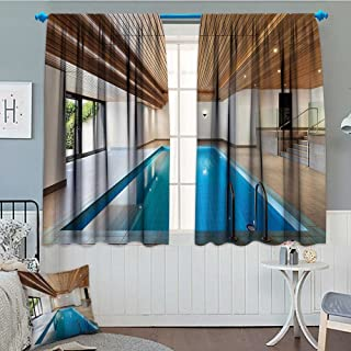 Strongger House Decor Collection Thermal/Room Darkening Window Curtains Apartment with Indoor Pool Wooden Ceiling Private Residence Stylish Home Perspective Picture Customized Curtains 72