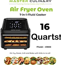 Master Culinary Air Fryer Oven A-1800 | 16 Quarts - Largest in the Market! | 7 in 1 Multi Cooker | FDA Approved | Free Mobile App and Recipe Book Included | Rapid Air Technology | Digital Display, Slick Design, Ultra Quiet, 8 Preset Programs, 1800W, 1 Year Warranty | 2019 Model