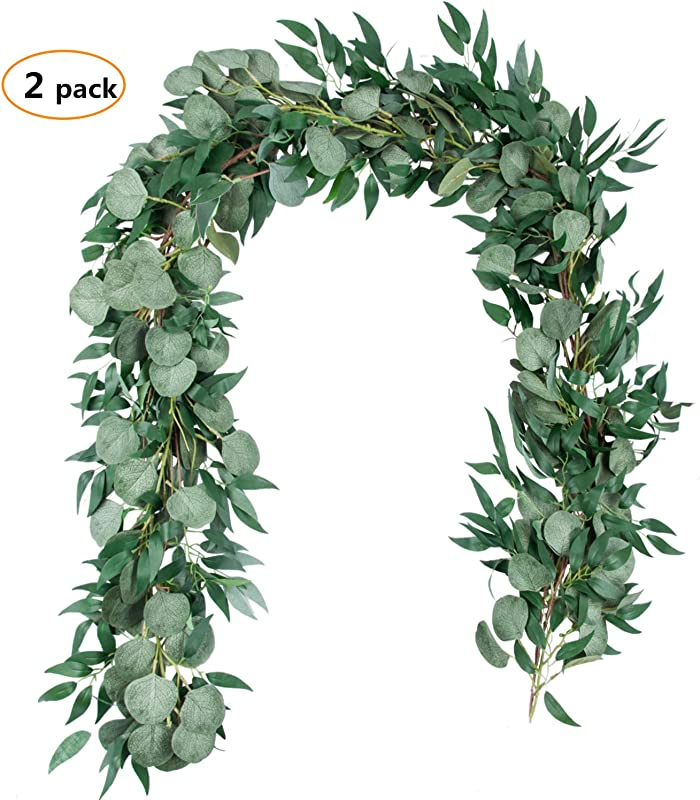 6 5 Feet Artificial Silver Dollar Eucalyptus Leaves Garland And 6 Feet Willow Vines Twigs Leaves Garland String For Doorways Greenery Garland Table Runner Garland Indoor Outdoor